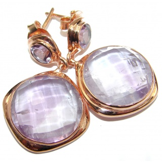 Genuine Pink Amethyst Rose 18K Gold over .925 Sterling Silver handmade Earrings