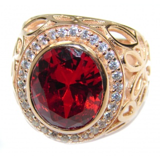 Intense Red color Topaz Rose Gold over .925 Sterling Silver handcrafted Ring s. 6
