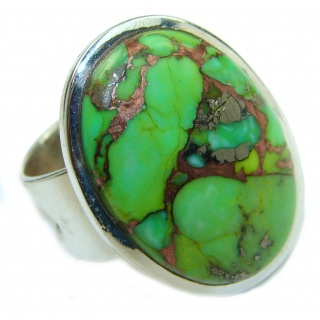 Huge Copper Turquoise .925 Sterling Silver ring; s. 8