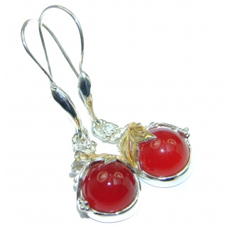 Long Orange Mexican Fire Opal Gold over .925 Sterling Silver handcrafted earrings
