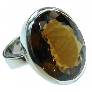 Bold Champagne Smoky Topaz .925 Sterling Silver Ring size 8 1/4