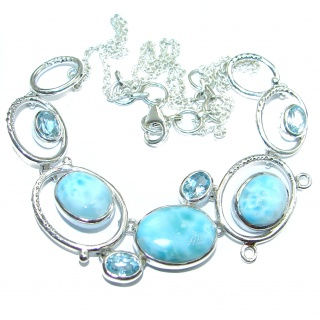 One of the kind Nature inspired Larimar Gold Rhodium over .925 Sterling Silver handmade necklace