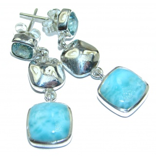 Rich Design Larimar Swiss Blue Topaz .925 Sterling Silver handcrafted earrings