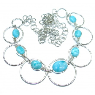 Sublime AAA+ Blue Larimar .925 Sterling Silver handmade necklace