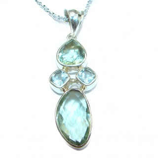 Luxury Old Fashion Genuine Green Amethyst .925 Sterling Silver handmade Necklace