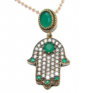 Outstandind Design Hamsa Hand .925 Sterling Silver necklace