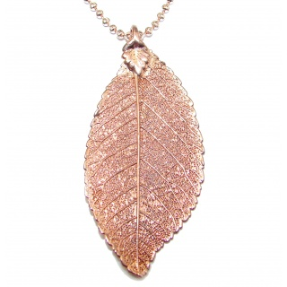 Leaf Deep In Copper Gold over .925 Sterling Silver necklace