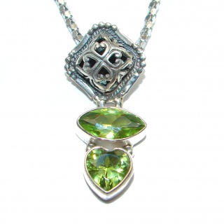 Luxury Old Fashion Genuine Peridot .925 Sterling Silver handmade Necklace