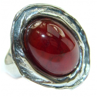 Genuine Garnet .925 Sterling Silver handmade Cocktail Ring s. 7 adjustable