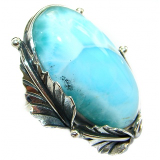 Large Natural Larimar .925 Sterling Silver handcrafted Ring s. 8 adjustable