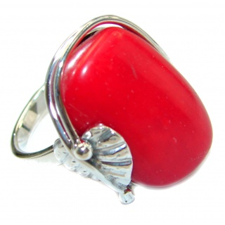 Natural Fossilized Coral 14K Gold over .925 Sterling Silver handmade ring s. 7 adjustable