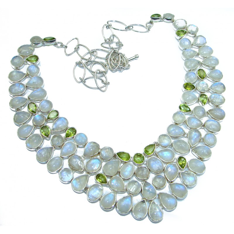 Drops of the Rain genuine Moonstone .925 Sterling Silver handcrafted necklace