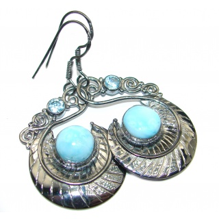 Vintage Design genuine Blue Larimar 18k Gold over .925 Sterling Silver handmade earrings