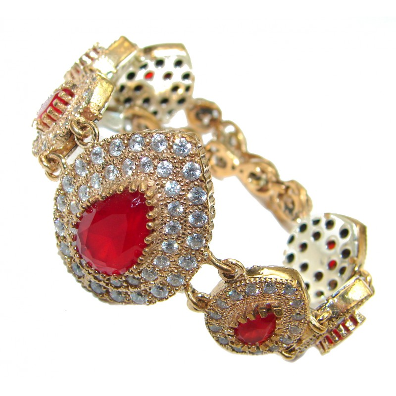 Red Ruby 14K Rose Gold over .925 Sterling Silver handcrafted Bracelet