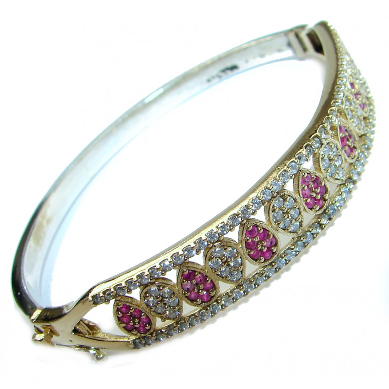 Victorian Style created Ruby & White Topaz Sterling Silver Bracelet