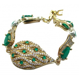 Created Emerald Gold over .925 Sterling Silver handcrafted Bracelet