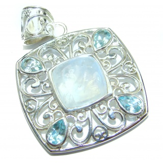 Huge Fire Moonstone .925 Sterling Silver handmade Pendant