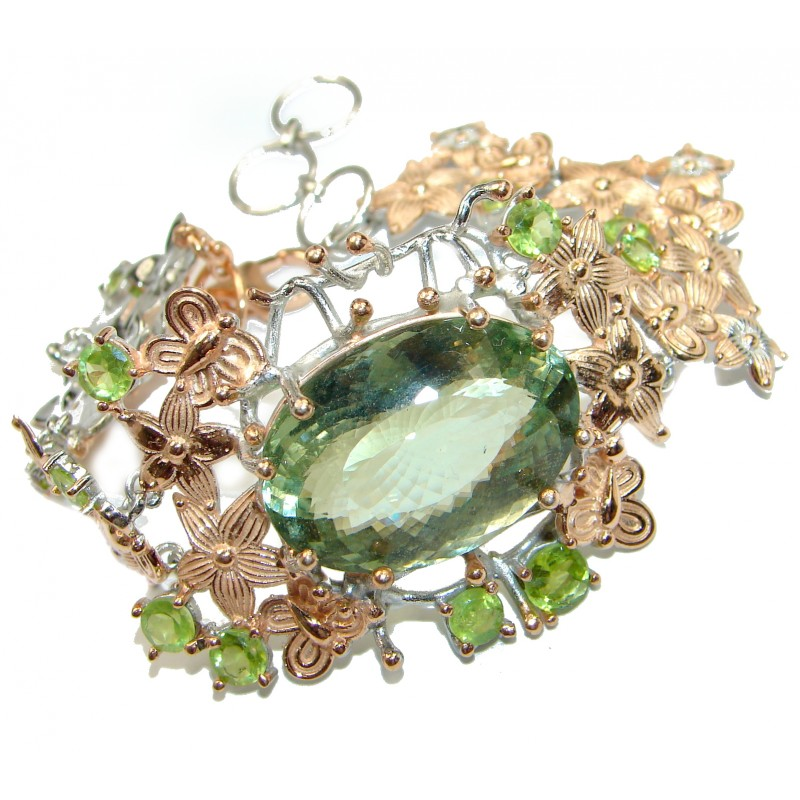 Baroque Style Green Amethyst 14 Gold over .925 Sterling Silver handmade Bracelet