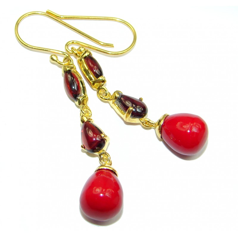 Genuine Red Fossilized Coral 14K Gold over .925 Sterling Silver handmade earrings