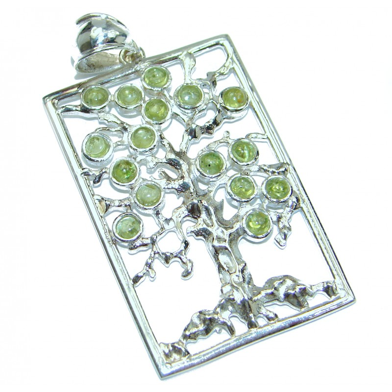 Perfect Family Tree Natural Peridot .925 Sterling Silver handcrafted Pendant