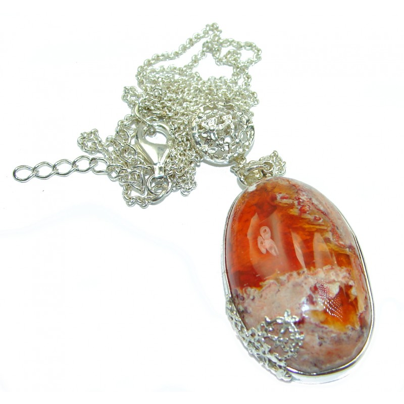 Sweet Treasure Mexican Fire Opal .925 Sterling Silver handmade Necklace