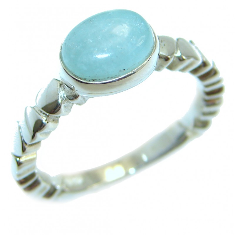 Magic genuine Aquamarine .925 Sterling Silver handmade Cocktail Ring s. 6 1/4