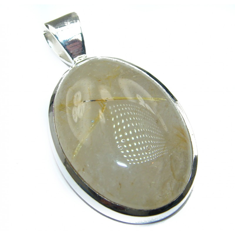 Incredible quality Silky Golden Rutilated Quartz .925 Sterling Silver handmade Pendant