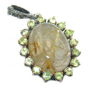 Incredible Rutilated Quartz .925 Sterling Silver handmade Pendant