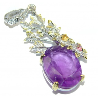 Protective Energy genuine Amethyst .925 Sterling Silver handmade Pendant