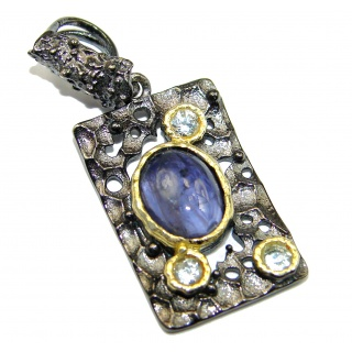 Perfect genuine Tanzanite 14K Gold over .925 Sterling Silver handmade Pendant