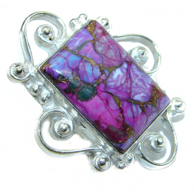 Huge Purple Turquoise .925 Sterling Silver ring; s. 8 1/4