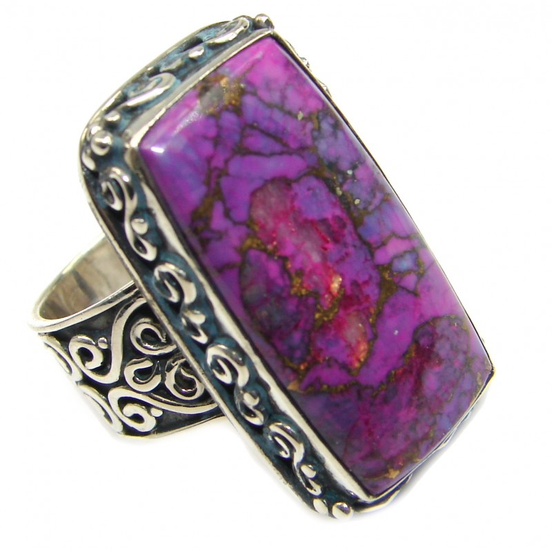 Huge Purple Turquoise .925 Sterling Silver ring; s. 7