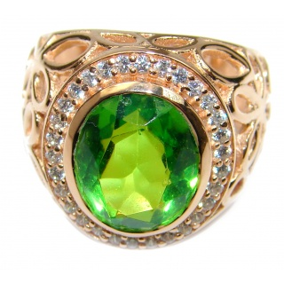 Intense Green color Topaz Rose Gold over .925 Sterling Silver handcrafted Ring s. 7 1/4