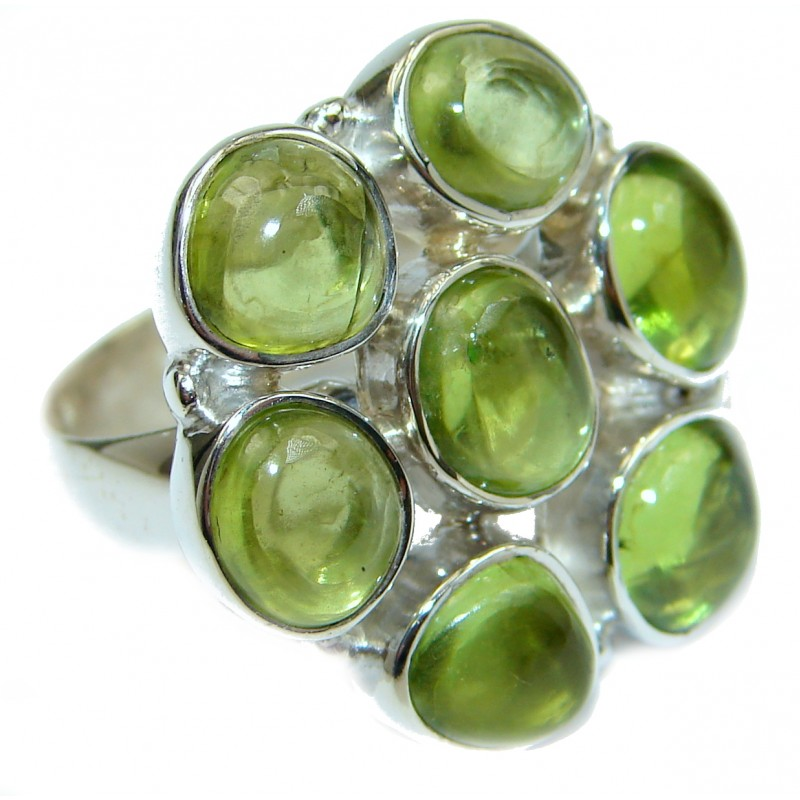 Energazing Peridot .925 Sterling Silver Ring size 7 ADJUSTABLE