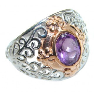 Natural Amethyst .925 Sterling Silver handmade Cocktail Ring s. 7