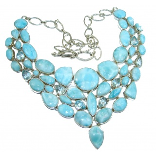 Large Cielito Lindo Chunky Larimar .925 Sterling Silver handcrafted necklace