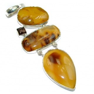 Huge Montana Scentic Montana Agate .925 Sterling Silver handmade Pendant