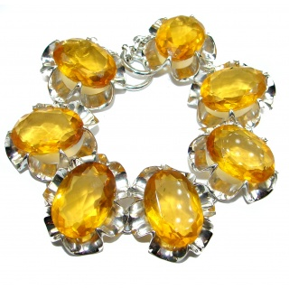 Huge Rich Golden Quartz .925 Sterling Silver handmade Bracelet