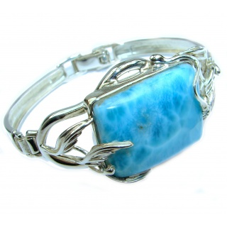 Great quality Blue Larimar Oxidized highly polished .925 Sterling Silver handmade Bracelet