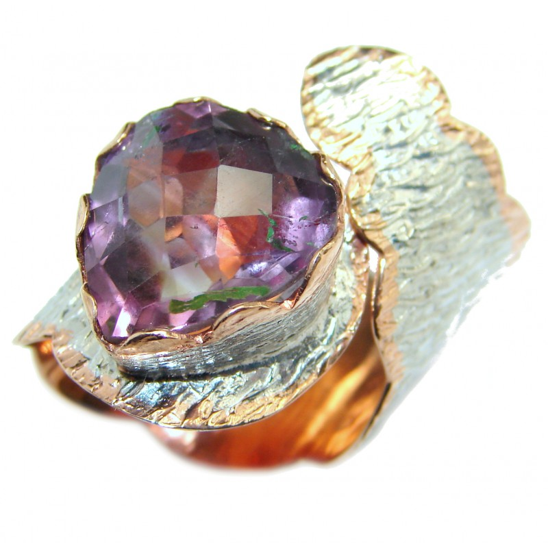 Large Pink Amethyst .925 Sterling Silver handmade ring size 7 adjustable