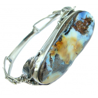 Norwegian Northern Lights Boulder Opal handmade .925 Sterling Silver Bracelet