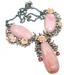 Bohemian Style Argentinian Pink Opal 18K Gold over . 925 Sterling Silver handcrafted necklace