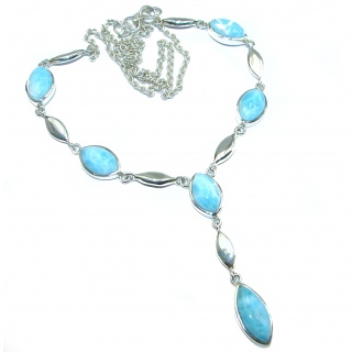 Ocean Inspired genuine Larimar .925 Sterling Silver handmade necklace