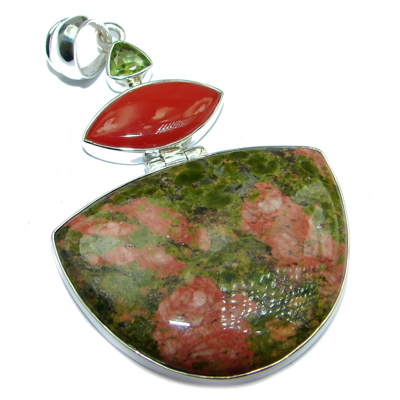 Stylish best quality Russian Unakite .925 Sterling Silver handmade Pendant