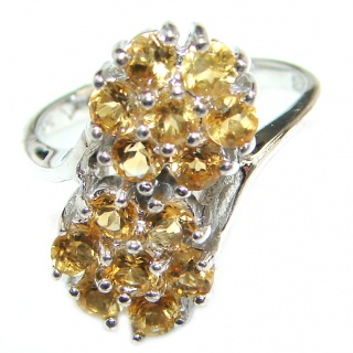 Natural Citrine .925 Sterling Silver handcrafted Ring s. 7