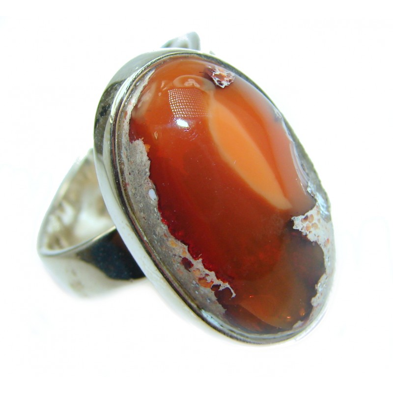 Vintage Design Genuine Mexican Opal .925 Sterling Silver handmade Ring size 7 adjustable