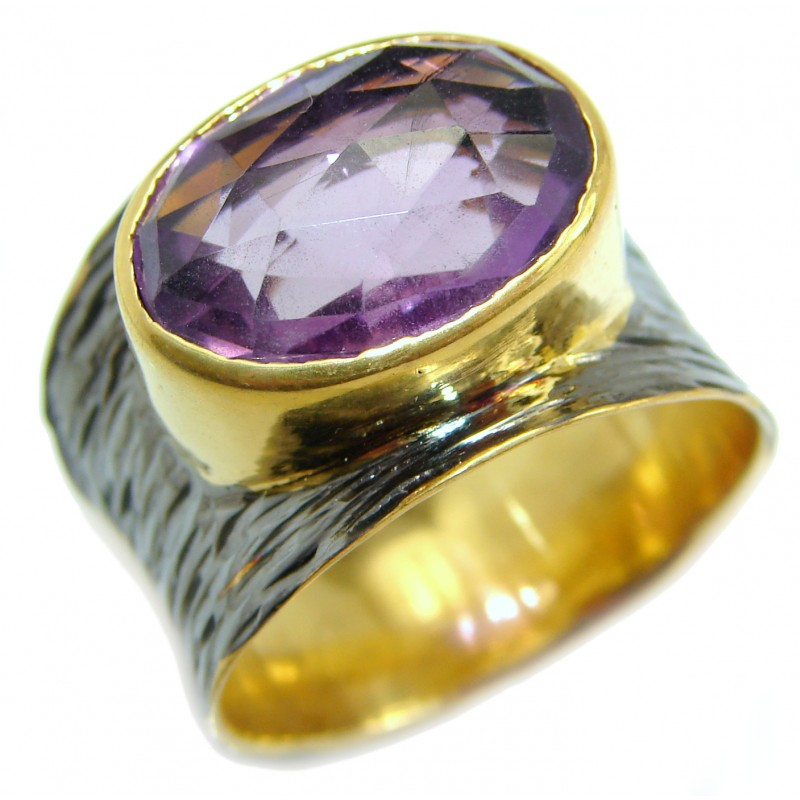 Large Pink Amethyst .925 Sterling Silver handmade ring size 8