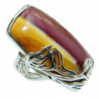 Mookaite .925 Sterling Silver handmade ring size 7 adjustable