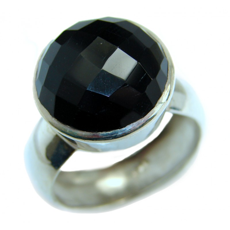 Majestic Authentic Onyx .925 Sterling Silver handmade Ring s. 10 1/4