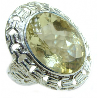 Natural Citrine .925 Sterling Silver handcrafted Ring s. 7 1/2